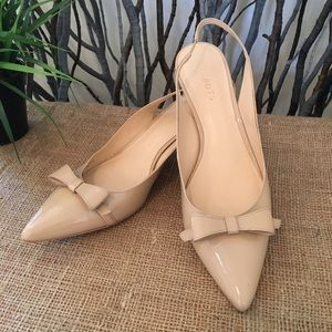 Talbots Nude Patent Leather Slingback Shoes